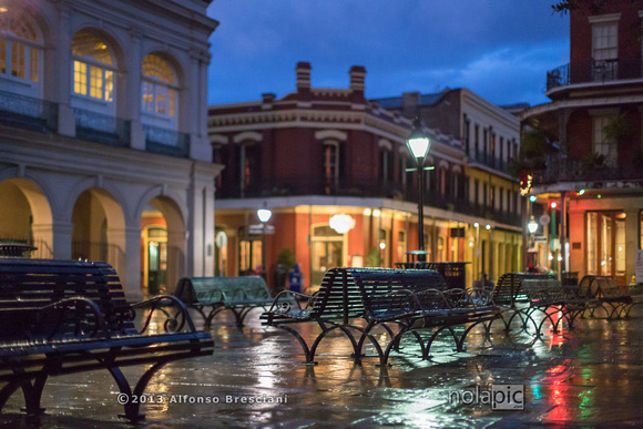 Chartres St. in the French Quarter at twilight.
